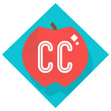 teal diamond shape with a red apple in center, and the letters C C in white in the middle of the apple.