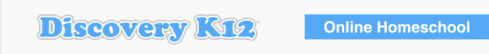 discovery k12 in blue bubble letters