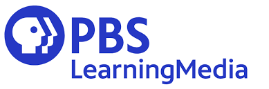 "Blue circle with a white minimalist profile silhouette and the blue words ""PBS Learning Media"" next to the circle."